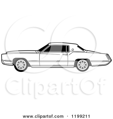 Clipart of a Vintage Black and White Cadillac - Royalty Free Vector Illustration by Lal Perera