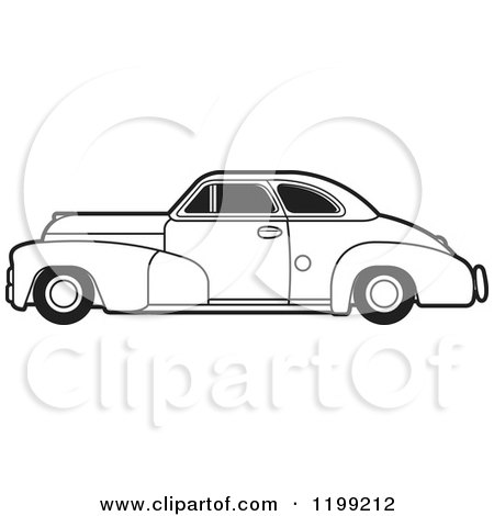 Clipart of a Vintage Black and White Chevrolet Car with Tinted Windows - Royalty Free Vector Illustration by Lal Perera