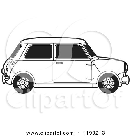 Clipart of a Vintage Black and White Morris Mini Car - Royalty Free Vector Illustration by Lal Perera