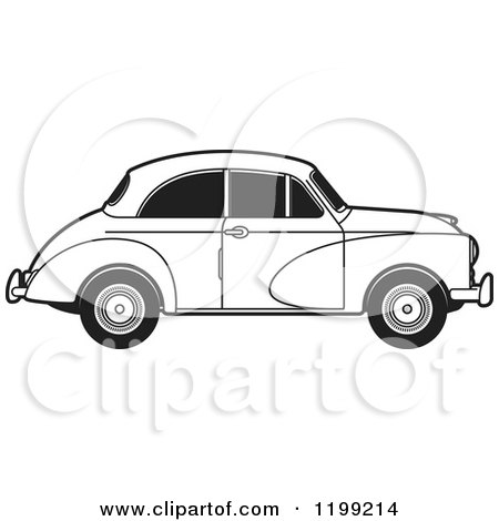 Clipart of a Vingage Black and White Morris Minor Car with Tinted Windows - Royalty Free Vector Illustration by Lal Perera