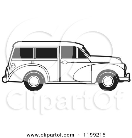 Clipart of a Vintage Black and White Morris Minor Car with Tinted Windows - Royalty Free Vector Illustration by Lal Perera