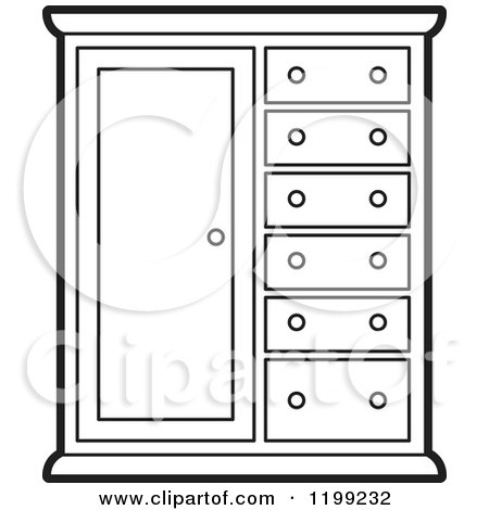 Clipart of a Black and White Almira Cabinet - Royalty Free Vector ...