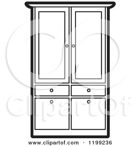 Wardrobe clipart black and white  Royalty-Free (RF) Armoire Clipart, Illustrations, Vector Graphics #1