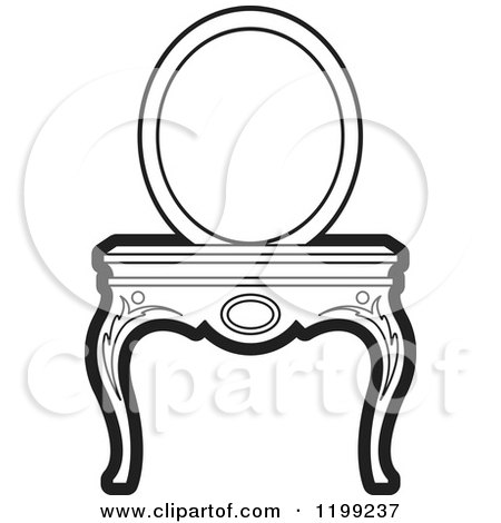 clipart of a black and white vanity table and mirror royalty free vector illustration by lal. Black Bedroom Furniture Sets. Home Design Ideas