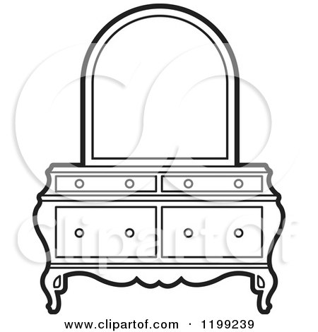 dresser clipart black and white. clipart of a black and white dresser mirror - royalty free vector illustration by lal perera