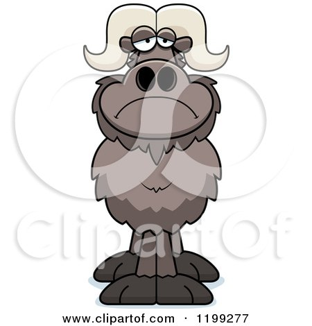 Cartoon of a Depressed Ox - Royalty Free Vector Clipart by Cory Thoman