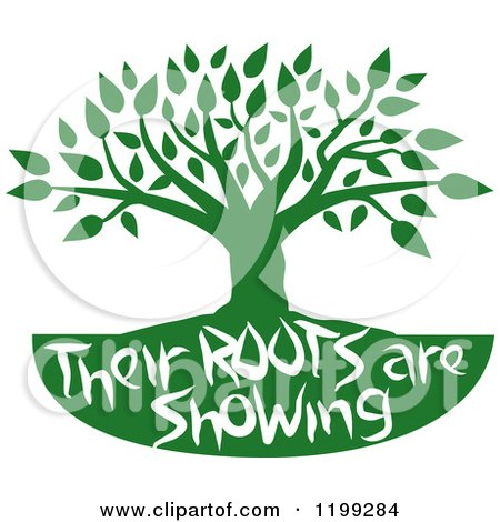 Clipart of a Green Family Tree With Their Roots Are Showing Text - Royalty Free Vector Illustration by Johnny Sajem