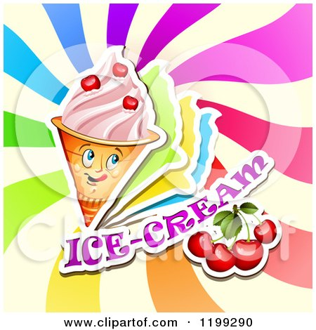 Clipart of a Waffle Ice Cream Cone with Frozen Yogurt Cherries Text and Colorful Swirls - Royalty Free Vector Illustration by merlinul