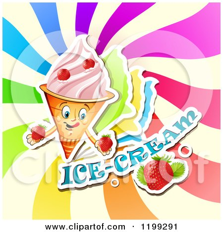 Clipart of a Waffle Ice Cream Cone with Frozen Yogurt Strawberries Text and Colorful Swirls - Royalty Free Vector Illustration by merlinul