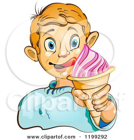 Cartoon of a Blond Boy Licking His Lips and Holding an Ice Cream Cone - Royalty Free Vector Clipart by merlinul