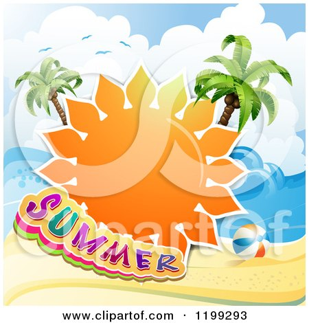 Clipart of a Summer Sun with Text over a Tropical Beach and Palm Trees - Royalty Free Vector Illustration by merlinul