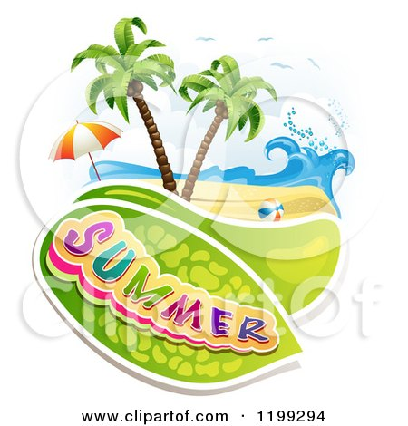 Clipart of Summer Text over a Tropical Beach with a Ball and Umbrella - Royalty Free Vector Illustration by merlinul