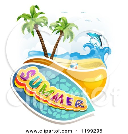 Clipart of Summer Text over a Tropical Beach with a Ball and Leaping Dolphin - Royalty Free Vector Illustration by merlinul