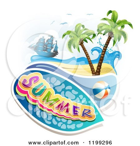 Clipart of Summer Text over a Tropical Beach with a Ball and Pirate Ship - Royalty Free Vector Illustration by merlinul
