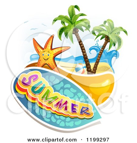 Clipart of Summer Text over a Tropical Beach with a Ball and Starfish - Royalty Free Vector Illustration by merlinul
