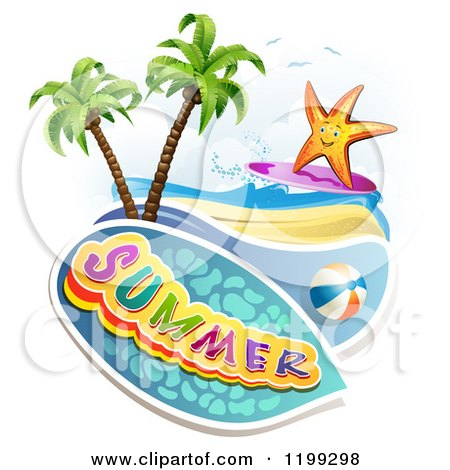 Clipart of Summer Text over a Tropical Beach with a Ball and Surfing Starfish - Royalty Free Vector Illustration by merlinul