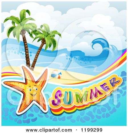 Clipart of Summer Text with a Starfish in Water over a Tropical Beach - Royalty Free Vector Illustration by merlinul