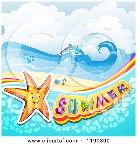 Clipart of Summer Text with a Starfish in Water over a Tropical Beach with a Dolphin - Royalty Free Vector Illustration by merlinul
