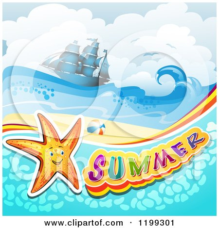 Clipart of Summer Text with a Starfish in Water over a Tropical Beach with a Ship - Royalty Free Vector Illustration by merlinul