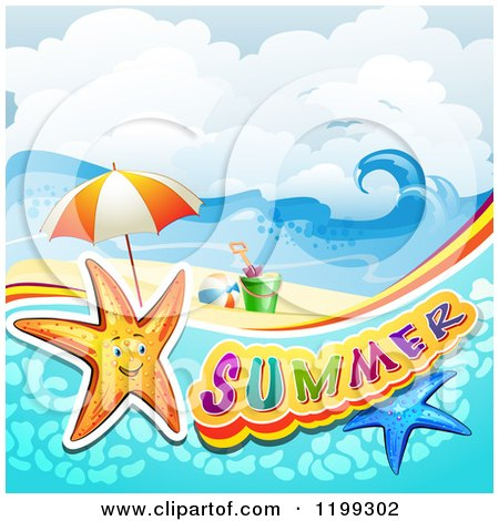 Clipart of Summer Text with Starfish in Water over a Tropical Beach with Beach Toys - Royalty Free Vector Illustration by merlinul