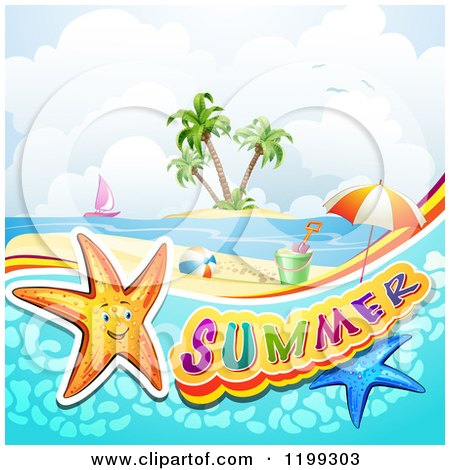 Clipart of Summer Text with Starfish in Water over a Tropical Beach with Beach Toys and an Island - Royalty Free Vector Illustration by merlinul