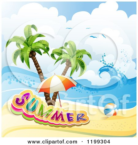 Clipart of a Ball and Beach Umbrella with Summer Text over a Tropical Beach and Palm Trees - Royalty Free Vector Illustration by merlinul