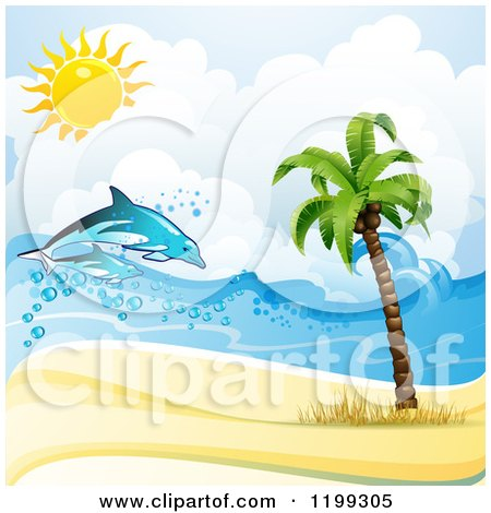 Clipart of a White Sand Tropical Beach with Dolphins and a Palm Tree - Royalty Free Vector Illustration by merlinul