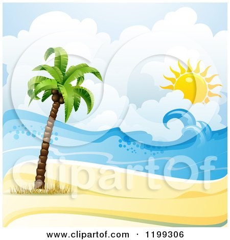 Clipart of a White Sand Tropical Beach with a Palm Tree and Sun over the Surf - Royalty Free Vector Illustration by merlinul
