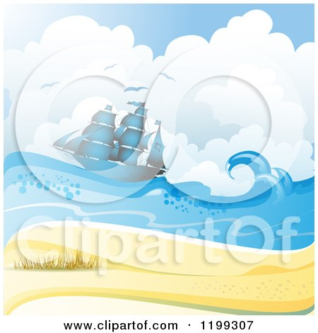 Clipart of a White Sand Tropical Beach with Seagulls and a Ship - Royalty Free Vector Illustration by merlinul