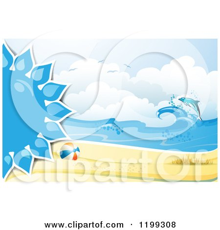 Clipart of a White Sand Tropical Beach with a Blue Sun Beach Ball and Leaping Dolphin - Royalty Free Vector Illustration by merlinul