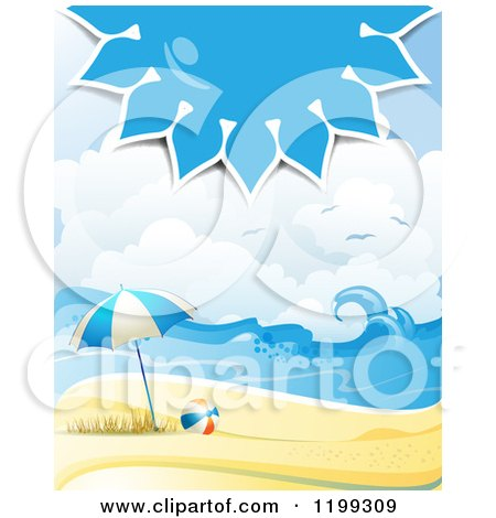 Clipart of a White Sand Tropical Beach with a Blue Sun over an Umbrella and Ball - Royalty Free Vector Illustration by merlinul