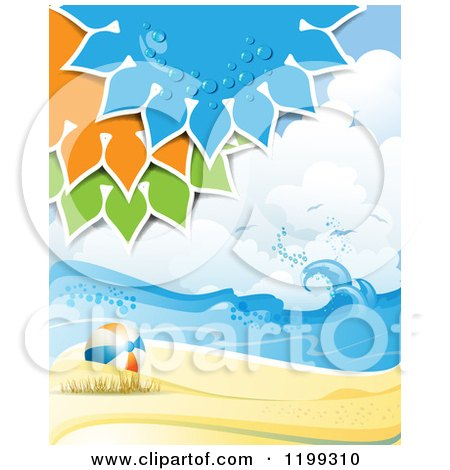 Clipart of a White Sand Tropical Beach with Colorful Suns over a Ball - Royalty Free Vector Illustration by merlinul