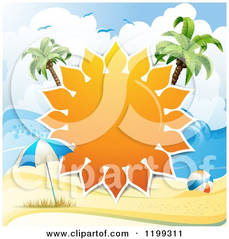 Clipart of a White Sand Tropical Beach with a Big Sun Frame Between Palm Trees over an Umbrella and Ball - Royalty Free Vector Illustration by merlinul