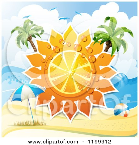 Clipart of a White Sand Tropical Beach with a Big Orange Citrus Sun with Dew and Palm Trees over an Umbrella and Ball - Royalty Free Vector Illustration by merlinul