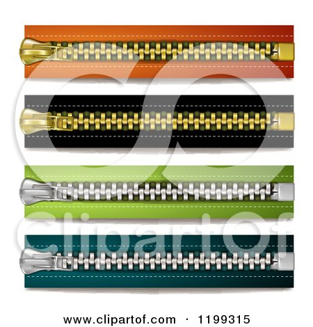 Clipart of Colorful Horizontal Zippers - Royalty Free Vector Illustration by merlinul