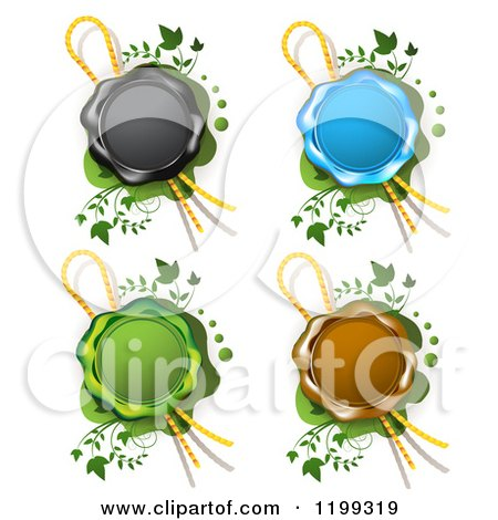 Clipart of Black Blue Green and Brown Wax Seals with Ribbons over Green with Vines - Royalty Free Vector Illustration by merlinul