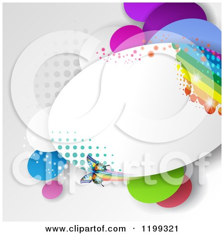 Clipart of a Butterfly Background with Halftone and a Rainbow in a Frame over Gray - Royalty Free Vector Illustration by merlinul
