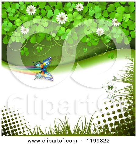 Clipart of a Butterfly Background with Halftone and Clovers with Copyspace - Royalty Free Vector Illustration by merlinul