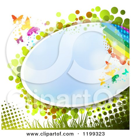 Clipart of a Butterfly Background with Halftone and a Rainbow and Blue Sky Frame - Royalty Free Vector Illustration by merlinul