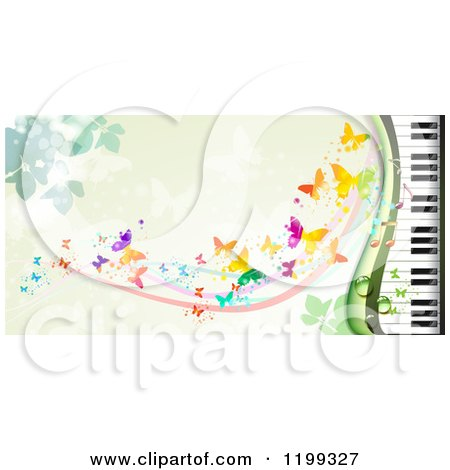 Clipart of a Background of Butterflies over Green with a Piano Keyboard - Royalty Free Vector Illustration by merlinul