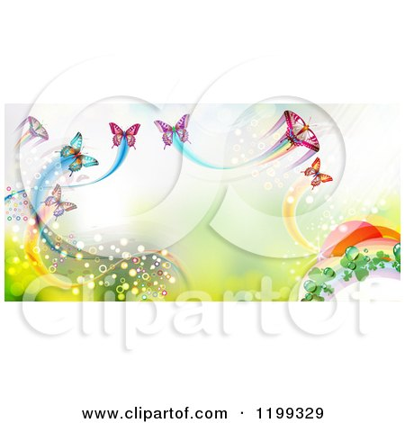 Clipart of a Background of Butterflies with Trails over Green - Royalty Free Vector Illustration by merlinul