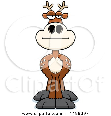 Cartoon of a Bored or Skeptical Deer - Royalty Free Vector Clipart by Cory Thoman
