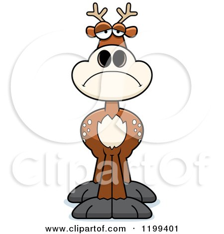 Cartoon of a Depressed Deer - Royalty Free Vector Clipart by Cory Thoman