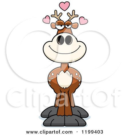 Cartoon of a Loving Deer with Hearts - Royalty Free Vector Clipart by Cory Thoman
