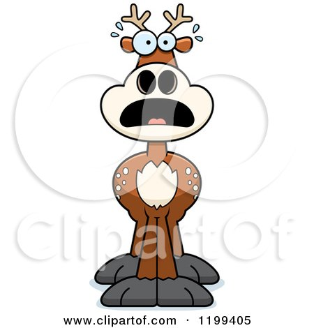 Cartoon of a Scared Deer - Royalty Free Vector Clipart by Cory Thoman