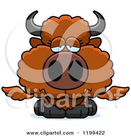 Cartoon of a Depressed Winged Buffalo Calf - Royalty Free Vector Clipart by Cory Thoman
