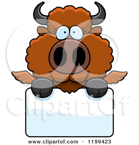 Cartoon of a Cute Winged Buffalo Calf over a Sign - Royalty Free Vector Clipart by Cory Thoman