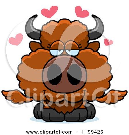 Cartoon of a Loving Winged Buffalo Calf with Hearts - Royalty Free Vector Clipart by Cory Thoman