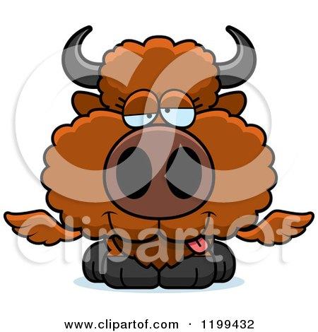 Cartoon of a Drunk Winged Buffalo Calf - Royalty Free Vector Clipart by Cory Thoman