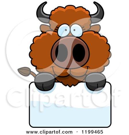 Cartoon of a Cute Buffalo Calf over a Sign - Royalty Free Vector Clipart by Cory Thoman